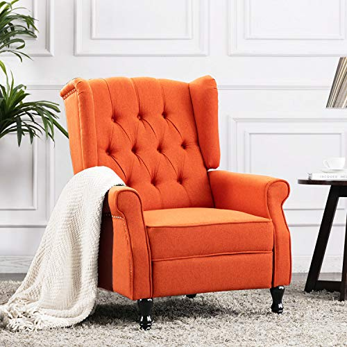 Altrobene Fabric Recliner Chair, Modern Accent Arm Chair with Tufted Wingback for Living Room/Bedroom/Office/Home Theater, Orange
