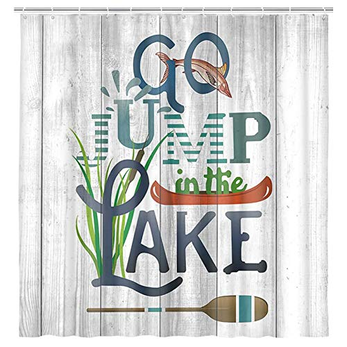 Rustic Lakeside Cabin Cottage Shower Curtain, Go Jump in The Lake Relax Words and Fish on Rustic Shabby Wooden Shower Curtain, Fabric Country Shower Curtain for Bathroom 12PCS Hooks, 69X70IN