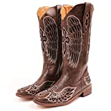 heelchic Women Embroidery Cowgirl Cowboy Boots Square Toe Mid Calf Western Boots Brown