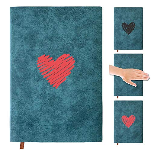 Blank pages Notebook Hard Cover Journal , 200 Pages, 8.3 x5.5 inch, A5 Color Changing Notebook and Nice Gift for Travelers,Students and Office, Writing Drawing Sketchbook Diary Subject (heart)