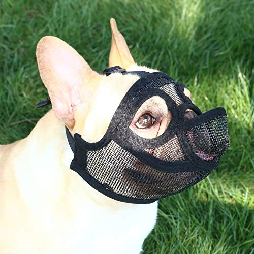 YUESEN Short Snout Dog Muzzle - Adjustable Breathable Mesh Bulldog Muzzle with Tongue Out Design for Barking Biting Chewing Training (S, Black)