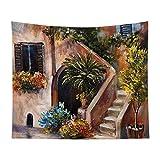 Manta decorativa para pared, diseño rústico, terraza con flores, Grecia, apta para dormitorio, dormitorio familiar