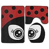 Aubrdon Cute Ladybug Home Set de 3 Alfombra de baño Suave Alfombra de baño Antideslizante