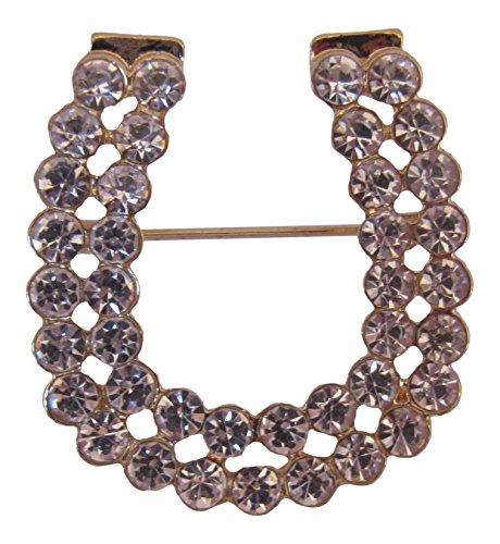 Brooch Boutique Broche de herradura de cristal chapado en oro, diseño de herradura de la suerte, ramo de flores de boda