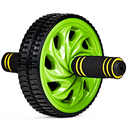 Crown Sporting Goods SFIT-201 Ab Wheel with Dual Non-Skid Wheels and No-Slip Comfort Grips