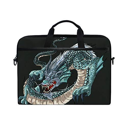 Orientalischer chinesischer Drachen-Laptop, Umhängetasche, Laptop, Umhängetasche, Laptoptasche, Laptoptasche, Tragetasche für 35,6 cm bis 38,1 cm (14 Zoll)