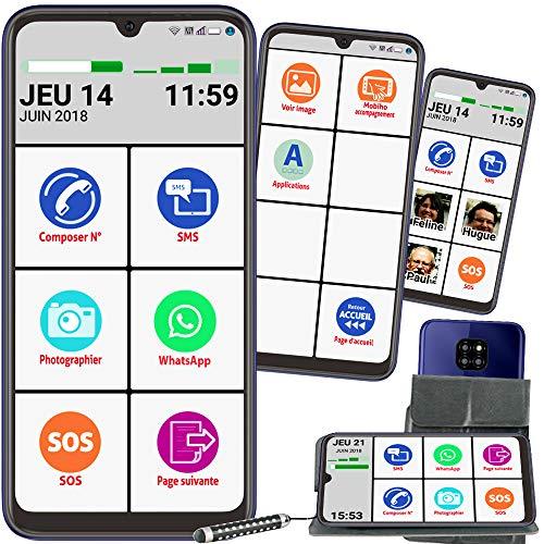 Mobiho-Essentiel Le Smart Initial 6 Pouces, Interface Senior simplifiée pour Faire l'Essentiel - Coach privé Inclus, Guide, Aide + Pochette, Appareil Photo 13 MP - Débloqué Tout opérateur.