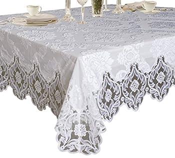 Violet Linen Elegant Velvet Lace Sheer Floral Deluxe Design Tablecloths 70  x 160  White