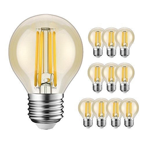 Bombillas LED E27 G45 equivalentes a 40 W, Retro Vintage ámbar pelota de golf, luz blanca cálida 2200 K, 360 lm, no regulable, ahorro de energía, 10 unidades