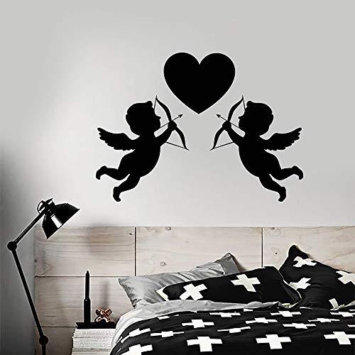 BailongXiao Cartoon mit Bogen Vinyl Wandtattoo Hochzeit Liebe Symbol Wohnzimmer Schlafzimmer Dekoration Accessoires Wandtattoo 45x63cm