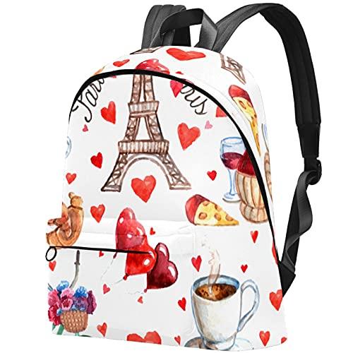 LAZEN Mochila clásica escolar Mochila de viaje ligera Mochila para portátil para mujeres Hombres París Torre Eiffel Amor Corazón Té Vino