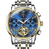 OLEVS Mens Watch Automatic Mechanical Tourbillon Slef-Wind Blue Dial Luxury Stainless Steel Date Calendar Week Waterproof Luminous Wrist Watch