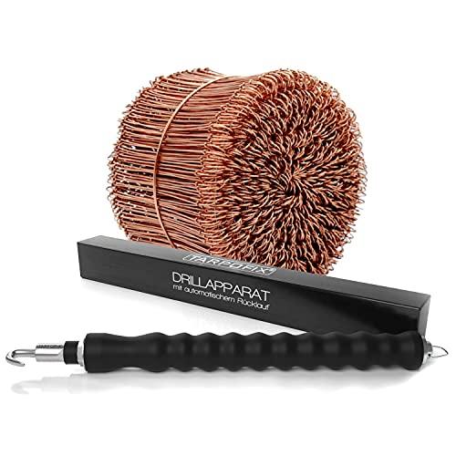 Tarpofix® Drillapparat Driller + Rödeldraht 1,0 x 100 mm (500 Stk.) - hochwertiges Set aus Drahtbinder Rödelzange und Bindedraht Sackverschluss - verkupferter Drahtverschluss Ösendraht Drill Draht