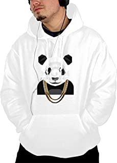 Mens Zip Up Cotton Premium Lightweight Magical Desiigner Panda Hooded Sweatshirt