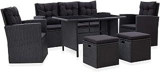 vidaXL Set Muebles de Jardín 6 Piezas y Cojines Conjunto Casa Patio Terraza Sofá Mesa Tablero Sillas Sillón Aire Libre Ratán Sintético Negro
