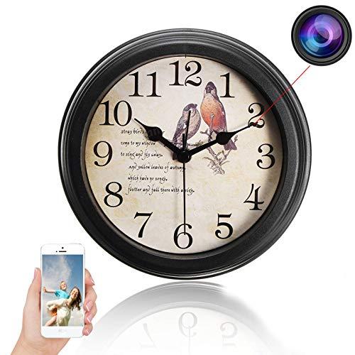 GEQWE Cámara De Reloj De Pared WiFi, 1080P HD P2P WiFi Cámara Estenopeica De Pared Oculta IP DVR Cámaras De Seguridad Y Vigilancia Grabadora De Video, para Oficina En Casa