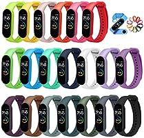 ivoler 20 Stuks Kleuren Armband voor Xiaomi Mi Band 5/6 Watch Strap, Silicone Polsband Vervanging Waterproof, Wearable,...