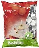 Bolsius - Velas para Interiores y Exteriores, duración: 4 Horas, 16x 38mm, 100Unidades, Color Blanco
