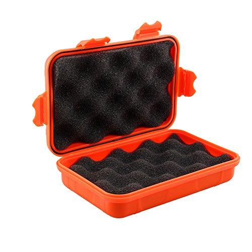 Dilwe Caja de Almacenamiento de Plástico de Supervivencia Caja de Almacenamiento Portátil Impermeable para Acampar al Aire Libre (Naranja L)