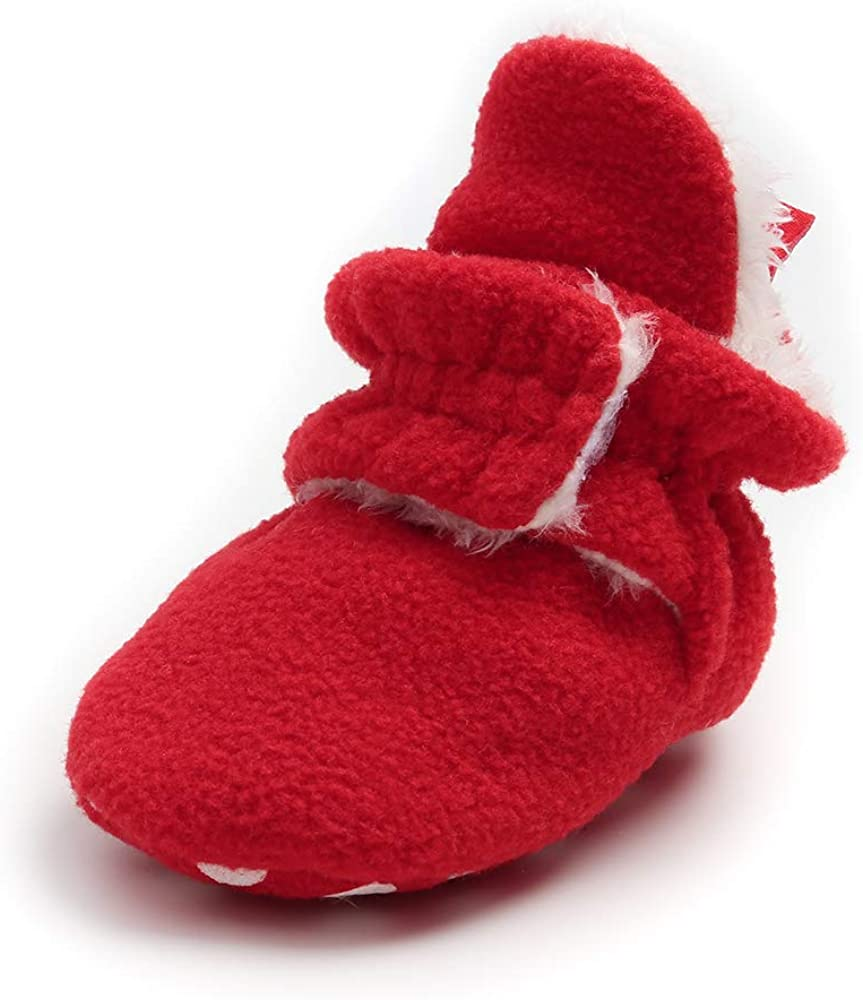 Baby Boy Girl Fleece Booties Newborn Cozy Winter Warm Socks Toddler Non-Slip Soft Sole Crib Shoes…