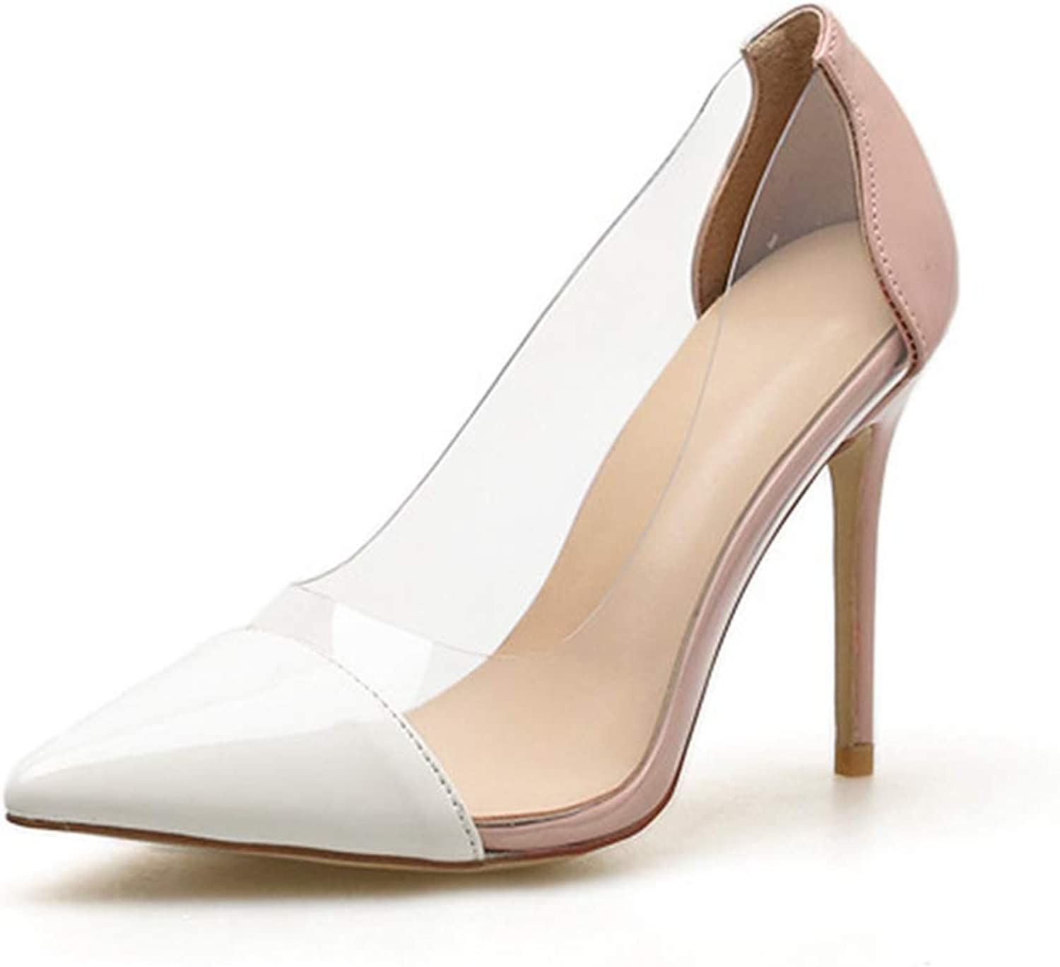 Drew Toby Women Pumps Pointed-Toe Shallow Mouth Transparent Fashion Elegant High Heels