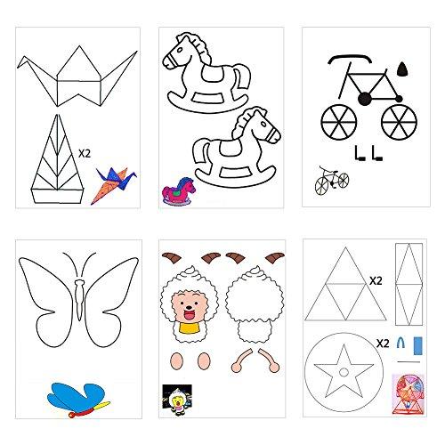 20 Stücke 3D Drucker Zeichnung Papier, Zeichnung Vorlage Papier Formen für 3D Druck Stift mit 40 Cartoon Muster Kinder DIY Geschenk - 5