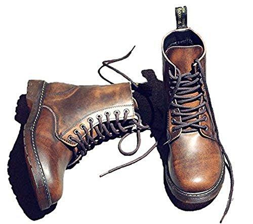 Punk Familia al aire libre cuero Martin Botas Vintage Botas Botas de Gran Tamaño Botas Botas de Caminar Botas Botas Botas, color Marrón, talla 43.5 EU