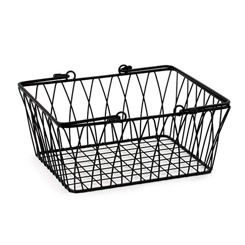 Spectrum Diversified Twist Storage Handles, Modern Farmhouse Décor Farmer's Market-Style Wire Basket for Organizing Bathroom, Pantry & Craft Room, Medium, Black