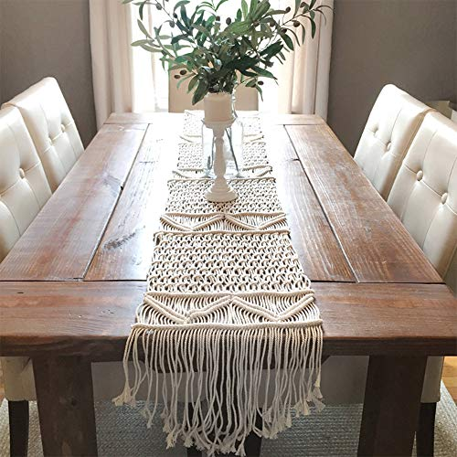 DÉCOCO Camino de mesa de macramé, tejido a mano, bohemio, decoración de mesa de boda, manta de cama, 35 x 180 cm