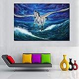 hetingyue Magic Pegasus Tier Wandkunst Leinwand Tier Pferd
