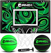 """AND1 Mini Basketball Hoop: 18""""x12"""" Pre-Assembled Portable Over The Door with Flex Rim, Includes Two Deflated 5"""" Mini Basketball with Pump, for Indoor, Green/Black"""