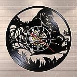BFMBCHDJ Jungle Monkeys Vinyl Record Reloj de Pared Vintage Safari Animal Art Gift para niños Baby Nursery Niños Habitación Decoración Reloj de Pared Reloj