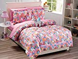 Elegant Home Multicolor Pink Purple White Blue Orange Little Pony Design Fun 8 Piece Comforter Bedding Set for Girls/Kids Bed in a Bag with Sheet Set & Decorative Toy Pillow # Pony (Queen Size)