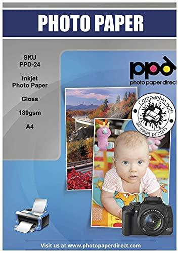 PPD 100 Feuilles x A4 Papier Photo Brillant, 180g, Impression Jet d'Encre, Haute Brillance, Séchage Instantané, Résistance à l'eau, Alimentation Facile, PPD-24–100