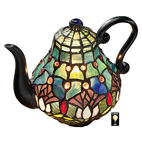 Design Toscano Victorian Teapot Tiffany-Style Stained Glass Illuminated Sculpture, 9.5″, Full Color