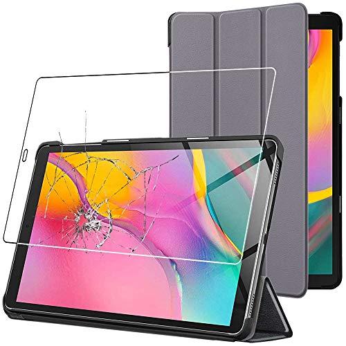 ebestStar - kompatibel mit Samsung Galaxy Tab A 10.1 Hülle 2019 T515 Schlank SmartCover [Ultra Dünn] Schutzhülle Etui Ständer Hülle Cover, Grau + Panzerglas Schutzfolie [Tab: 245x149x7.5mm, 10.1'']