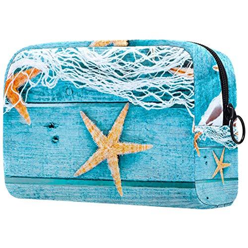 Neceser de Maquillaje Estuche Escolar para Cosméticos Bolsa de Aseo Grande Estrella de mar y veta de Madera Azul Claro