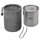 Lixada 550ml/750ml Camping Titanium Pot Water Cup con Mango Desmontable Vajilla al Aire Libre Picnic Cookware