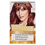 L'Oréal Paris Tinta Capelli Excellence Intense, Copre i Capelli Bianchi, Colore Ricco, Luminoso e a Lunga Durata, Castano Chiaro Ramato Mogano 5.45, Confezione da 1