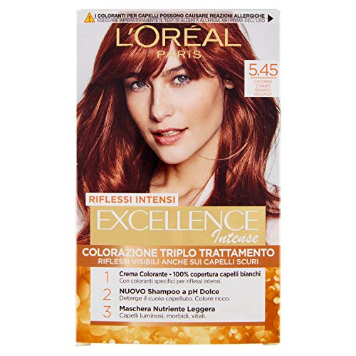 L'Oréal Paris Excellence Creme, tinte colorante con triple tratamiento avanzado, cubre los cabellos blancos 5.45 Castano Chiaro Ramato Mogano