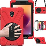 Tab A 8.0 T380 Case, BRAECN Three Layer Heavy Duty Soft Silicone Hard Bumper Case Built-in Stand Shockproof Durable Rugged Case for Samsung Galaxy Tab A8.0 2017 SM-T380/T385 Samsung Tab A2 S 2017(Red)