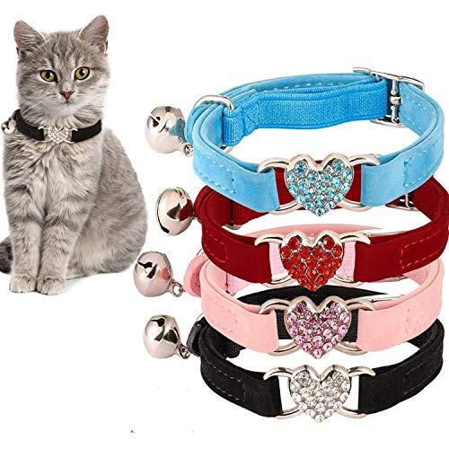 Auidy_6TXD 4 Stück Katzenhalsband, Verstellbares Katzen-Halsband mit Glocke und Herzanhänger Cute Pet Supplies