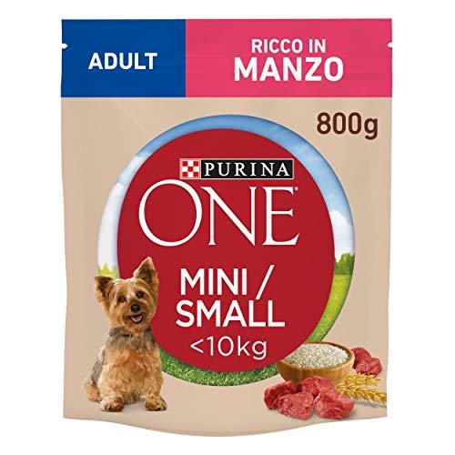 Purina One Mini Crocchette Cane Adult Ricco in Manzo, con Riso, per Cani Fino A 10 kg - 8 Sacchi da 800 g Ciascuno