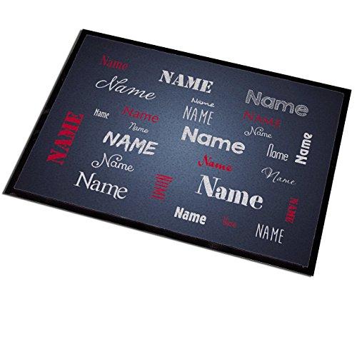 Herz & Heim® Fußmatte grau mit Aufdruck des eigenen Namens in verschieden Schriftarten