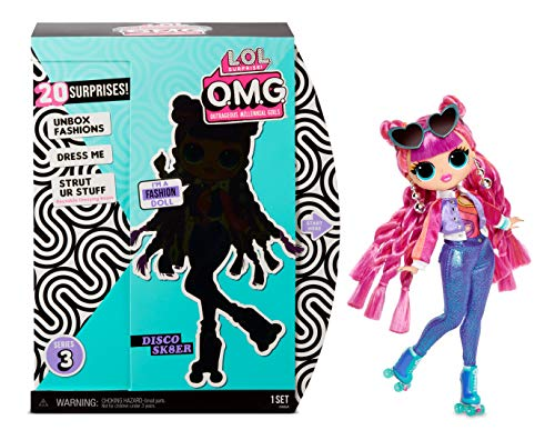 L.O.L. Surprise, O.M.G. LLUE0 - Box of 20 Surprises including 1 Doll 27 cm, Accessories, Convertible Base to Chair, Dressing Room Box, Random Models (Series 3) Toy for Children from 3 Years