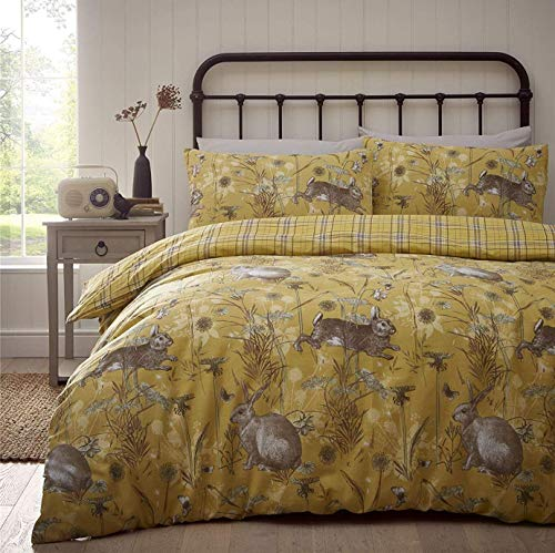 Portfolio Rabbit Meadow Duvet Cover Set Bedding, Ochre Yellow, King