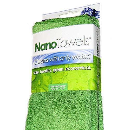 Nano Towels Reinigungstücher, umweltfreundlich, frei von Chemikalien, Wie im Fernsehen gezeigt. Der Durchbruch in der Reinigungsfaser-Technologie, die Tücher reinigen nur mit Wasser und ersetzen teure Papiertücher, Schwämme, Reinigungstücher, Feuchttücher, Mikrofasertücher und giftige chemische Reinigungsmittel, sparen Geld, umweltfreundlich und Sicher für Kleinkinder und Babys. Verwendbar als Badetücher, Küchentücher und Geschirrtücher. 35,6x 35,6cm, 4 Stück