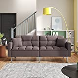 Merax 74' Convertible Folding Futon Sofa Bed with 3 Adjustable Positions, Linen Upholstered Modern Loveseat Couch Bed for Compact Living Space, Apartment, Dorm(Brown)