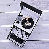 YUTR Cofanetto regalo a tre strati, orologio da uomo di fascia alta, portafoglio in pelle, cintura in pelle di primo strato per inviare un regalo di compleanno per la festa del papà (Color : Black)