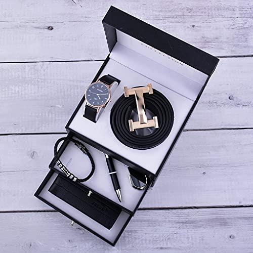 ZZABC Juego de Caja de Regalo de Tres Capas Reloj de Alta Gama para Hombres Billetera de Cuero cinturón de Cuero de Primera Capa para Enviar el Regalo de cumpleaños del día del Padre (Color : Black)